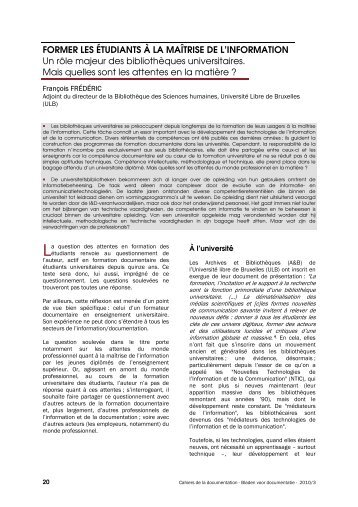 Former les étudiants à la maîtrise de l'information : un ... - ABD-BVD