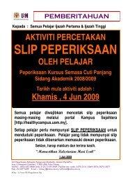 aktiviti percetakan slip peperiksaan kscp, sidang akademik 2008/2009