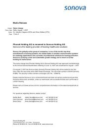 Media Release Phonak Holding AG is renamed to Sonova Holding ...