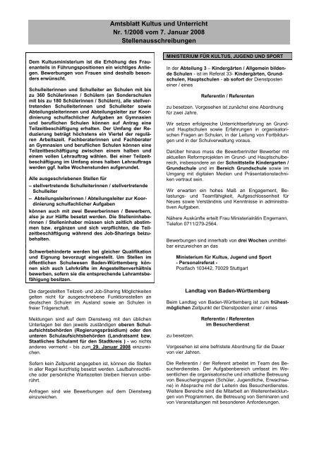 Amtsblatt Kultus und Unterricht Nr. 1/2008 vom 7. Januar 2008 ...