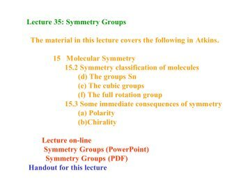 Lecture 35: Symmetry Groups The material in this lecture ... - Cobalt