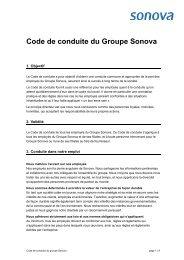 Code de conduite du Groupe Sonova