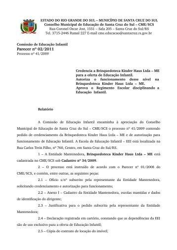 Parecer nº 02/2011 - Prefeitura de Santa Cruz do Sul