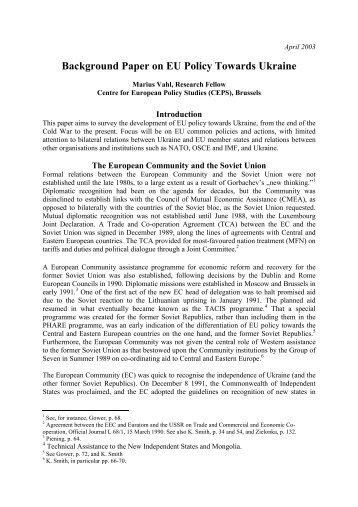 Background Paper on EU Policy Towards Ukraine