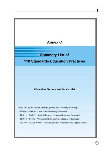 Annex C - APEC Standards Education Initiative