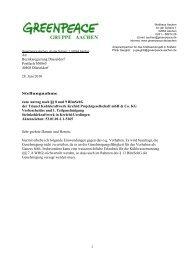 Stellungnahme - Greenpeace Gruppe Aachen