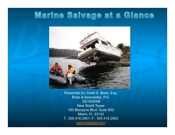Marina Salvage At A Glance Slides - Brais & Brais