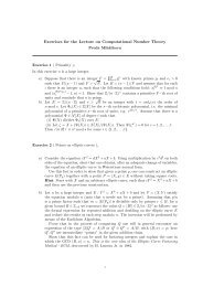 Exercises for the Lecture on Computational Number Theory