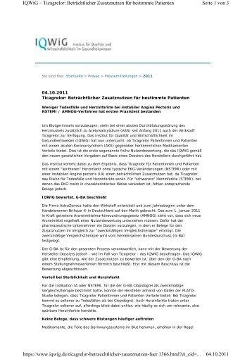 Seite 1 von 3 IQWiG – Ticagrelor: Beträchtlicher Zusatznutzen für ...
