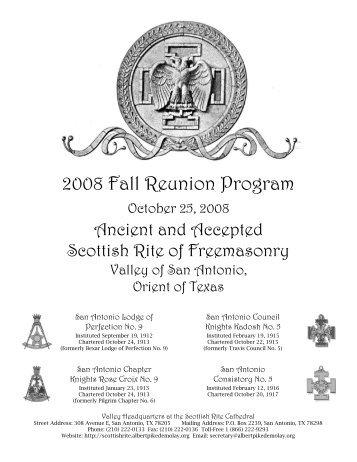 2008 Fall Reunion Program - Valley of San Antonio - Albert Pike ...