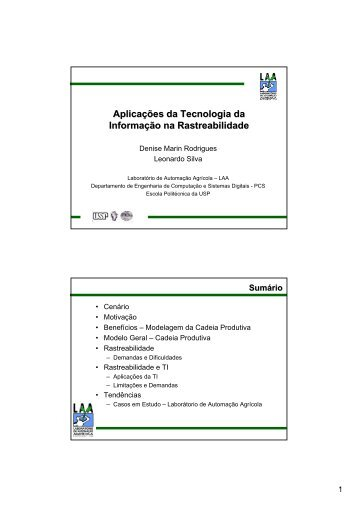 Aplicações da Tecnologia da Informação na ... - PCS - USP