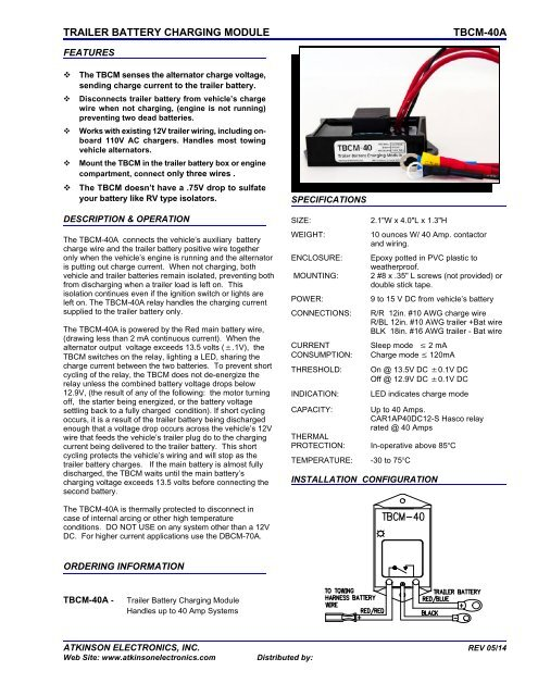 Enjoyable Trailer Battery Charging Module Tbcm 40A Atkinson Electronics Inc Wiring Digital Resources Funapmognl