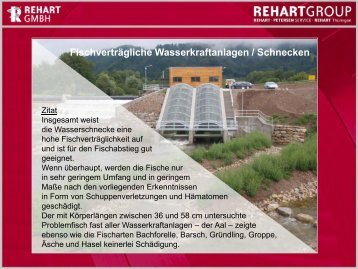 Fischverträgliche Wasserkraftanlage / Schneckentechnik ist keine ...