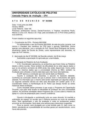 Ata de 14 de Junho - Universidade Católica de Pelotas