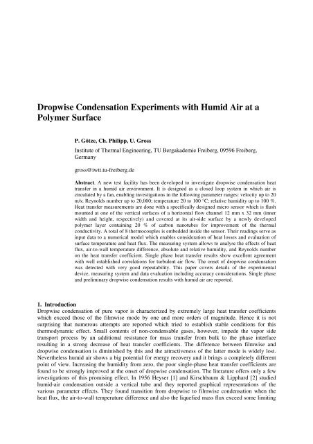 Dropwise Condensation Experiments with Humid Air at a Polymer ...