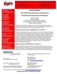 ANNOUNCEMENT SSO 2009 Spring Symposium and Workshop ...