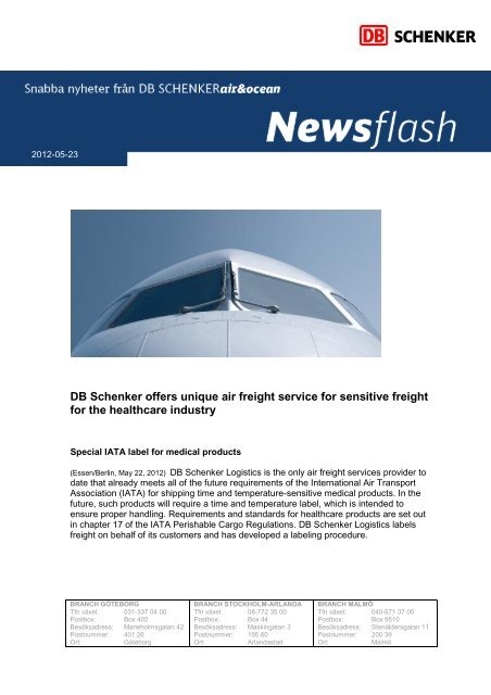 DB Schenker offers unique air freight service for sensitive freight