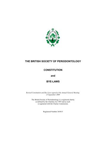 Constitution and Bye-laws - the British Society of Periodontology ...