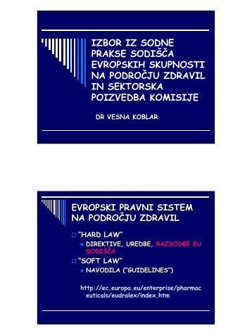 Izbor iz sodne prakse Sodišča Evropskih skupnosti na področju zdravil