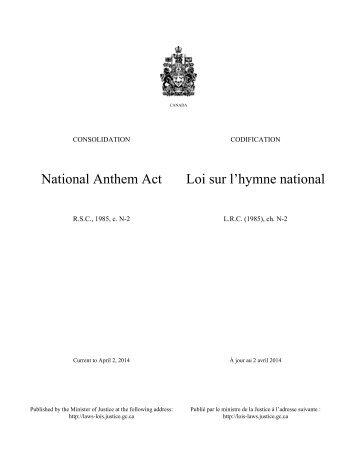 Loi sur l'hymne national - Lois du Canada - Justice
