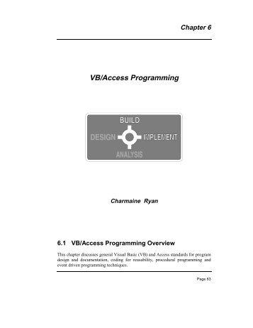 Chapter 6 VB/Access Programming