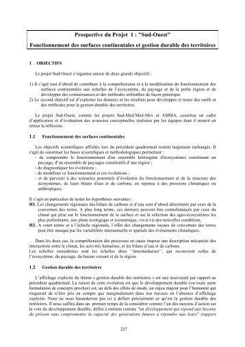"""Prospective du Projet 1 : """"Sud-Ouest"""" Fonctionnement des ... - CESBIO"""