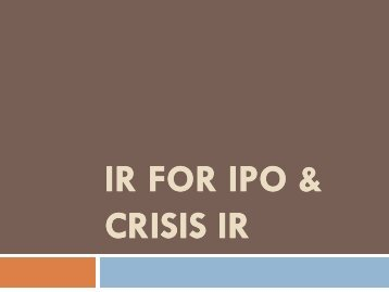IR for IPO & Crisis IR - Investor Relations