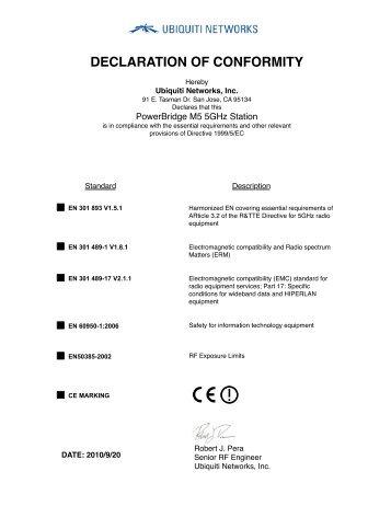 DECLARATION OF CONFORMITY - Ubiquiti Networks