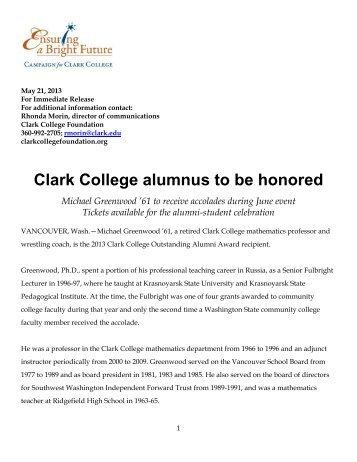 FOR IMMEDIATE RELEASE - Clark College Foundation