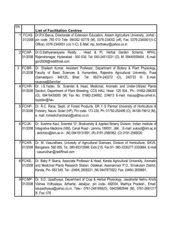 List of Facilitation Centres 1 FC/AS- 01/2008 Dr.R.K.Barua ... - NMPB