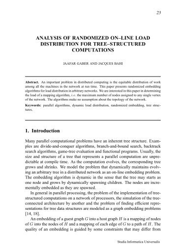ANALYSIS OF RANDOMIZED ON–LINE LOAD DISTRIBUTION FOR ...