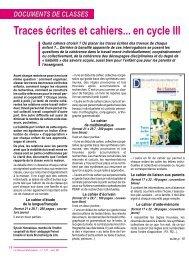 Traces écrites et cahiers... en cycle III - Pédagogie Freinet