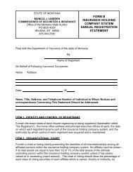 Holding Company Forms - Montana - State Auditor and ...