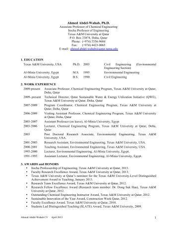 Resume - Texas A&M University at Qatar > Chemical Engineering