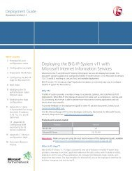 Deploying the BIG-IP System v11 with Microsoft IIS - F5 Networks