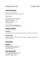 CURRICULUM VITAE Diciembre 2004 Datos Personales Areas de ...