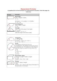 Measurement Formulas [.pdf] - Cheat Sheet