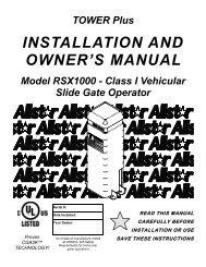 190-111873E Tower Plus RSX1000 manual Sept 2007.PUB - Linear