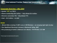 Corporate Overview ~ May 2011 - International Frontier Resources ...