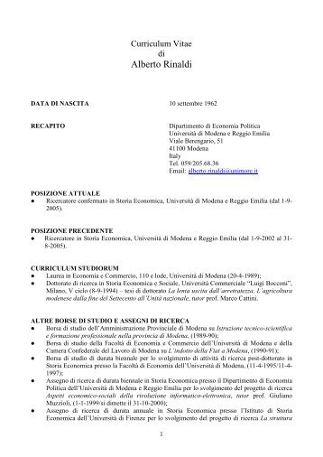 Curriculum Vitae - Facoltà di Economia Marco Biagi - Home