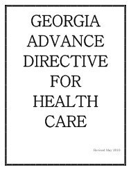 georgia advance directive for health care - Division of Aging Services