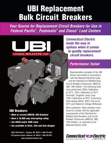 UBI Replacement Bulk Circuit Breakers - Connecticut Electric