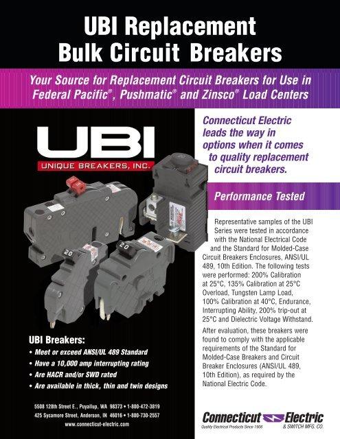 View-Pak//Unique Breaker UBI-F015N Unique Single Pole Thin Federal Pacific Circuit Breaker