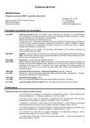 CURRICULUM VITAE Mathilde Darley Formation secondaire et ...