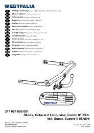 317 087 600 001 Skoda, Octavia 2 Limousine, Combi 01 ... - Westfalia