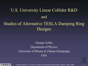 U.S. University Linear Collider R&D and Studies of Alternative ...