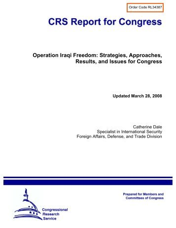 Operation Iraqi Freedom: Strategies, Approaches, Results, and ...