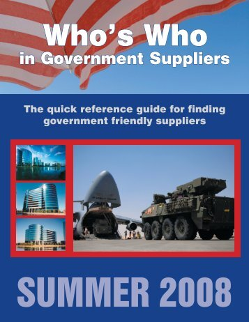 Who's Who in Government Suppliers Summer 2008 Edition