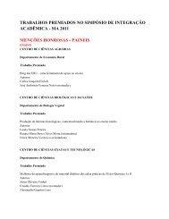 trabalhos premiados no simpósio de integração acadêmica - UFV