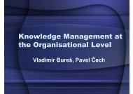 Knowledge Management at the Organisational Level - Lide na UHK